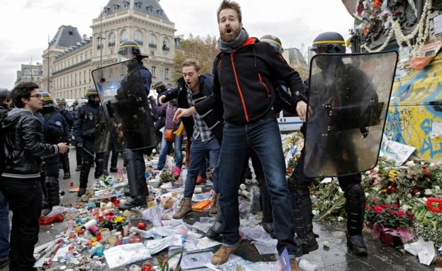 ClimateActivistsCOP21MemorialTrashed