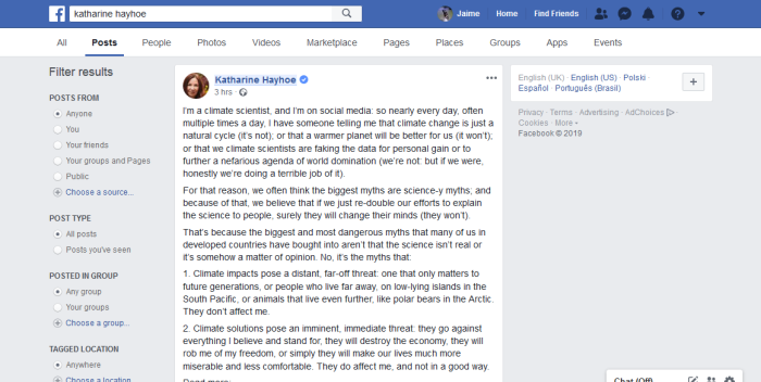 katharine hayhoe – Facebook Search